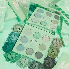 Get the details on the new makeup release from Colourpop! It's the Mint Collection featuring a brand new palette Mint To Be! Colourpop Palette, Colourpop Cosmetics, Mint Eyeshadow, Pastel Eyeshadow Palette, Mint Green Aesthetic, Bath Body Works, Pastel Mint, Makeup Kit, Elf Makeup