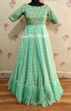 Pastal green designer long frock by viviktha # pastal hues # ethnic outfit # designer long frock # long gown designs # wedding frocks # Indian dresses # party wear long frock designs Indian Designer Outfits, Outfit Designer, Designer Dresses, Designer Wear, Long Gown Dress, Long Gowns, Long Dresses, Dresses With Sleeves, Frock Design For Stitching