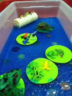 Thanks Wee Play for this great Frog Sensory Bin idea!