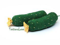 Cucumber 1 pc - Crochet vegetable - Seasons - Eco-friendly - Play food - Сrochet toys - little chef - Waldorf - Eco-friendly - Ready to ship