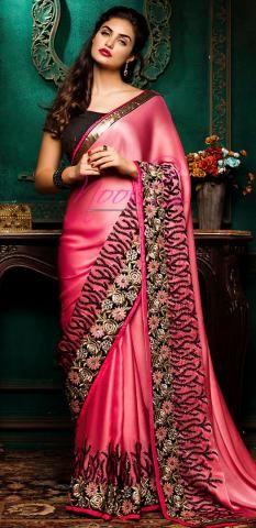 Satin Crepe Plain Saree Pink Chamki Work Wardrobe BZ4939D75716