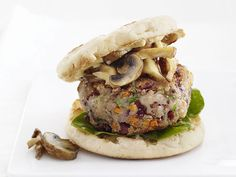 Veggie Burgers with Mushrooms Recipe : Food Network Kitchens : Food Network - FoodNetwork.com