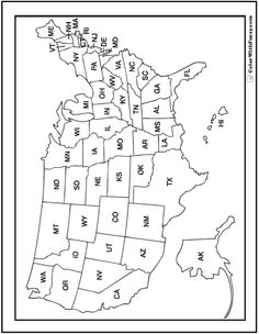 That blank school map displaying the 50 states of the