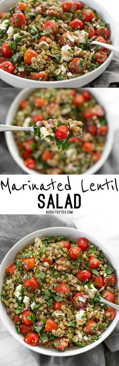 Marinated Lentil Salad is bright and flavorful, and infused with bold flavors like garlic and lemon. @budgetbytes