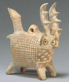 Terracotta zoomorphic askos with antlers  middle cypriot III (ca. 1725-1600 BCE)  Metropolitan Museum of Art