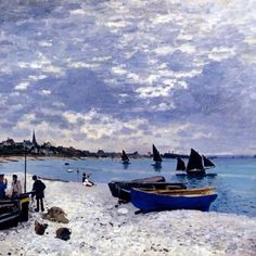 Claude Monet~ Blue Boats On White Sand