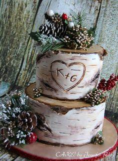 The Adventure Begins Wooden Wedding Cake Topper, Arrow Rustic Wood Decoration - Ideal Wedding Ideas Birch Wedding Cakes, Birch Tree Wedding, Wedding Cake Fresh Flowers, Rustic Wedding Cake Toppers, Themed Wedding Cakes, Christmas Wedding Cakes, Christmas Themes, Birch Tree Cakes, Winter Wonderland Wedding