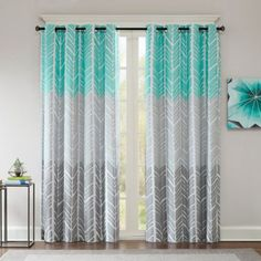 Shop for Intelligent Design Kennedy Printed Lined Blackout Single Window Curtain Panel. Get free delivery On EVERYTHING* Overstock - Your Online Home Decor Outlet Store! Aqua Curtains, Curtains 1 Panel, Window Panels, Blackout Curtains, Window Curtains, Bedroom Curtains, Modern Curtains, Panel Bed, Turquoise Curtains