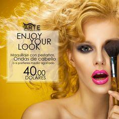 Maquillaje con pestañas, Ondas de cabello o medio agarrado por solo $40.00 #ENJOYYOURLOOK #PROMOCIONES #BELLEZA #COLOR #CABELLO #PEINADOS