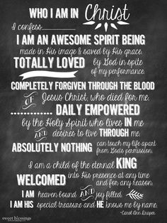 Sweet Blessings: Who I am in Christ Free Printable