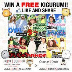 Kigu Kawaii's Giveaway Blast!   Tired of having 1 winner per giveaway? This time Kigu Kawaii, in collaboration with Cosplay Sushi, is giving away 3 NEW KIGURUMI SETS FOR FREE!   Wanna be the lucky winner? JOIN NOW!   SIMPLY COMPLETE STEPS 1-4!  https://www.facebook.com/photo.php?fbid=288795254602082&set=pb.120382448110031.-2207520000.1392450025.&type=3&theater