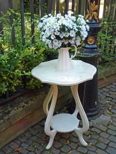 Side table in Old White  aged crackled effect top   easy to do withQueen Anne Dining Chairs in  anniesloanhome Emile  chalkpaint with  . Old Dining Chairs Leicester. Home Design Ideas