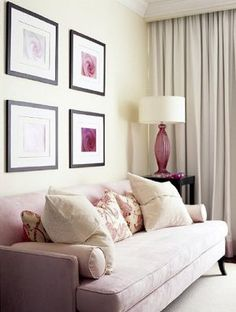 Sarah Richardson - pink room for Park Hyatt Breast Cancer - Toronto. Love the sofa! Transitional Living Rooms, Living Room Modern, Living Room Decor, Living Spaces, Sarah Richardson, Pink Furniture, Leather Furniture, Rosa Sofa, Couches