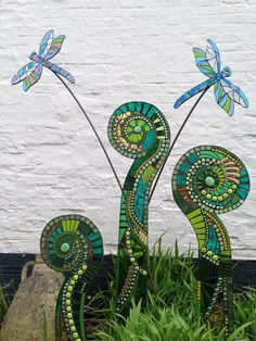 ferns and dragonflies