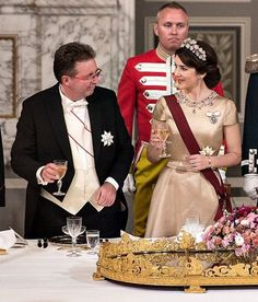 On March 28, 2017, Queen Margrethe hosted State Banquet in honour of King Philippe and Queen Mathilde held at Christiansborg Palace. Attended the state banquet, Crown Prince Frederik, Crown Princess Mary, Prince Joachim, Princess Marie of Denmark.