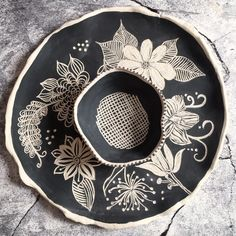 Chip and dip set with flower/paisley design by Jarjour Pottery on Instagram