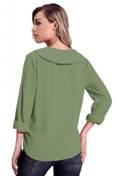 Sage Green Lapel V Neck Roll Sleeve Blouse Simple Craze - Shopify Dropshipping - Join the Shopify Dropshipping forum to know more about dropshipping. - Sage Green Lapel V Neck Roll Sleeve Blouse Simple Craze Blouse Styles, Blouse Designs, Cheap Womens Tops, Long Skirt Outfits, Western Tops, Collar Blouse, How To Roll Sleeves, Chiffon Fabric, Daily Look
