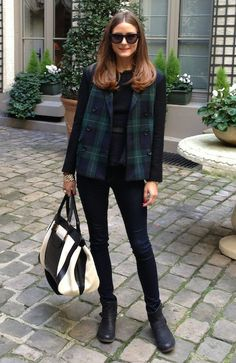 Olivia Palermo wearing Tibi Ringo Plaid Blazer Rebecca Taylor Peplum Tweed Top Chloe Alice Leather Tote Report Jude Moto Boot