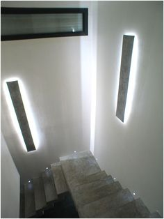 - Résultat éclairage LED cage d& … LED staircase lighting result More - Staircase Lighting Ideas, Stairway Lighting, Home Lighting, Concrete Light, Concrete Lamp, Lighting Concepts, Lighting Design, Interior Walls, Interior Design