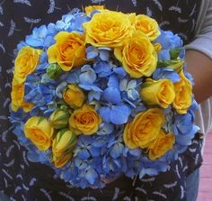 Click to view Yellow Mini Rose and Blue Hydrangea Bouquet