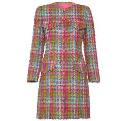 1990s Haute Couture Chanel Tweed Coat ($29) ❤ liked on Polyvore featuring outerwear, coats, tweed coat, lightweight coat, green tweed coat, pink tweed coat and pink coat