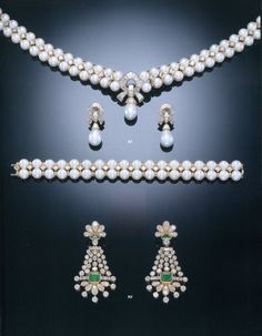 88 - A SUITE OF ELEGANT CULTURED PEARL AND DIAMOND JEWELLERY, BY TABBAH 90 - A PAIR OF EMERALD AND DIAMOND EAR-PENDANTS, BY TABBAH