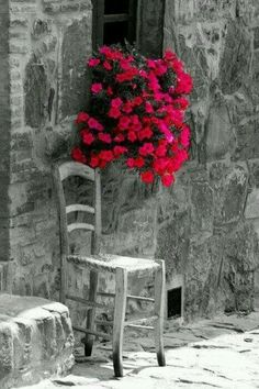 Beautiful flowers hanging from the windowsill and chair in Mallorca , Spain Beautiful World, Beautiful Places, Beautiful Pictures, Beautiful Flowers, Color Splash, Color Pop, Red Color, Window Boxes, Windows And Doors