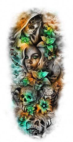 pics pics art pics awesome pics beautiful pics design pics for men pics ideas pics ink pics photography pics tatoo Skull Girl Tattoo, Skull Sleeve Tattoos, Sugar Skull Tattoos, Best Sleeve Tattoos, Sleeve Tattoos For Women, Tattoo Sleeve Designs, Leg Tattoos, Arm Tattoo, Body Art Tattoos