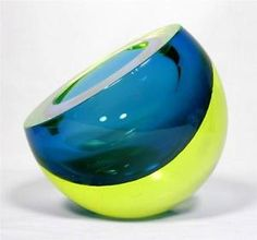 Large Cenedese Murano Sommerso Uranium Glass Bowl/Ashtray, C.1970 ...