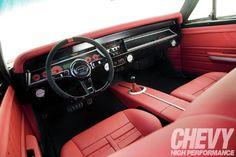 1967 Chevrolet Chevelle - #BecauseSS Long Distance Runner - Chevrolet Hi-Perf. The Hog Ring - M&M Hot Rod Interiors 1967 Chevelle custom red black seats pro touring gray grey interior tiburon interior