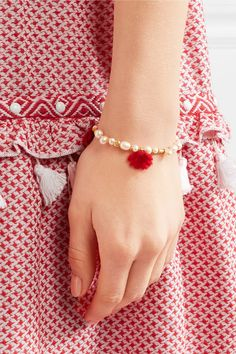 Katerina Makriyianni - Gold-plated, Pearl And Wool Bracelet - Ivory