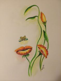 'Flowers for the Lady' A3 size drawing using Faber Castell Polychromos Pencils : artwork by Renee Want ©