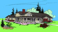 Elevation of Country   Ranch   House Plan 91750