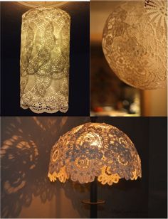DIY Easy Lace Doily Lamp Shades ................Follow DIY Fun Ideas at www.facebook.com/... for tons more great projects!