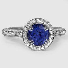 Platinum Sapphire Enchant Halo Diamond Ring // Set with a 6.5mm Round Blue Sapphire #BrilliantEarth