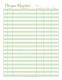 Large Print Check Register Printable | budgeting | Pinterest ...
