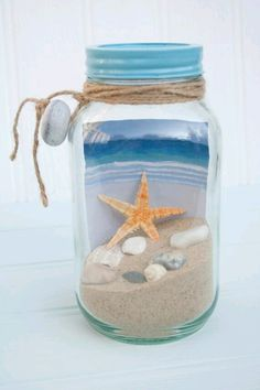 Get Away in a Jar put a cool picture of a beach in the jar fill with sand mini sea shells attach gift tag with ribbon Would make a cute coworker office gift Sea Crafts, Seashell Crafts, Diy And Crafts, Crafts For Kids, Mason Jar Crafts, Bottle Crafts, Beach Jar, Summer Crafts, Office Gifts