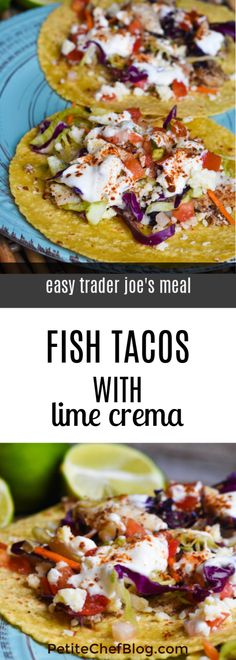 Easy Trader Joe's Meal: Fish Tacos With Lime Crema - The Petite Chef dinner trader joes Easy Trader Joe's Meal: Fish Tacos With Lime Crema Easy Fish Recipes, Seafood Recipes, Healthy Dinner Recipes, Meal Recipes, Trader Joe's, Fisher, Fresh Tomato Salsa, Almond Recipes, Vegan
