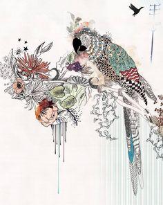 Watercolor Painting, Bird art, 11x14 print, Original Pen & Ink Illustration, Parrot print
