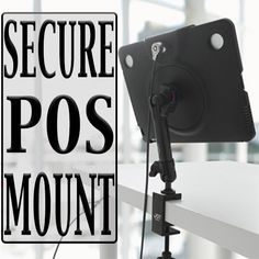"""This versatile Secure Tablet Mount offers maximum functionality, available in 4 different mounting types. Additionally, the tablet is held secure by a 6.5' cable so that the tablet stays """"in the general vicinity"""" of where it's mounted."""