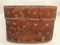 Antique 19thc Red White Blue Yellow Paint Primitive Folk Art Wood Band Box - PA