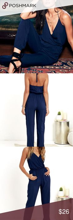 Lulus Learning to Fly Navy Blue Jumpsuit Lulu's Learning to Fly Navy Blue Jumpsuit, has halter tie straps for an adjustable neckline, deep v neck wrap style, cinch waist, and elastic ankle cuffs. Great jumpsuit, for summer and spring with a pair of chunky heels. Only flaw is the v neck part was safety pinned together for a more modest look so there are some pin pricks and then a small pull. The pictures make the flaw look a lot worse and more noticeable than they really are. Lulu's Pants…