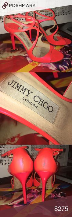 """JIMMY CHOO """"LANG"""" NEON ORANGE 38 1/2 Authentic pair of Jimmy Choo """"Lang"""" sandals in size 38 1/2. Worn a handful of times and in mint condition. In stores for $895. Take a look at pictures, bottoms are worn and back of heels near tips have slight damage. You can easily bring them to a shoe repair for a repair on the bottoms to look new and overall light clean since they are patent and easy to clean. True to size. In pictures look FLAWLESS! NO BOX OR DUSTBAG. Jimmy Choo Shoes Sandals"""