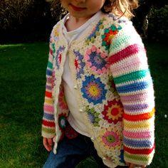 (inspiration) Crochet hexagons cardigan jacket, one-off custom made design £50.00