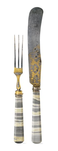 A set of hardstone and parcel-gilt steel flatware, possibly Tula, early century - Sothebys Landed Gentry, Grey And Gold, Color Themes, Garden Tools, 19th Century, Antique Dealers, Auction, Carving, Steel