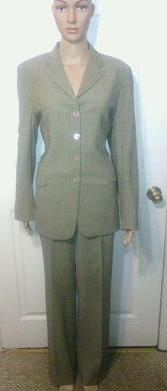 PIAZZA SEMPIONE 44 Suit gray beige jacket pants wool designer italian VGUC US 8 #PiazzaSempione #PantSuit