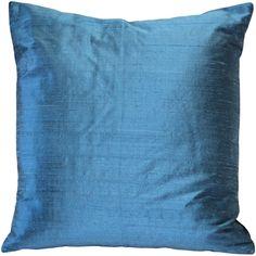 Sankara Marine Blue Silk Throw Pillow 16x16