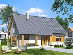 DOM ST9-76 - gotowy projekt domu Bungalow House Design, Small House Design, Houzz, House Plans, Exterior, Outdoor Structures, Architecture, Outdoor Decor, Modern Houses