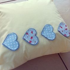 Blue and cream cushion with fabric heart detail Valentine Heart, Valentines, Cream Cushions, Heart Pillow, Free Pattern, Throw Pillows, Fabric, Hearts, Handmade