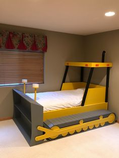 Twin Size Bulldozer Bed PLANS (pdf format), Create a Construction Themed Bedroom for your Child, Perfect for the DIY Woodworking Enthusiast Kids Room Design, Bed Design, Kids Car Bed, Full Size Bedroom Sets, Rooms To Go Kids, Construction Bedroom, Murphy Bed Plans, Kids Bedroom Furniture, Bedroom Themes